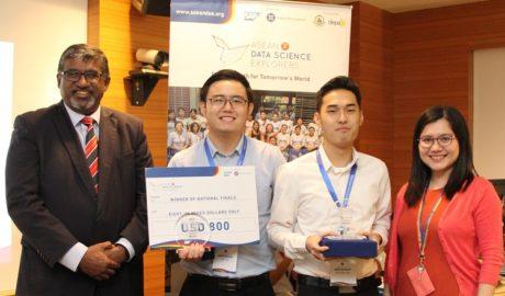 Monash University winners Leong Zhuan Kee (second right) and Peh Wei Li ...